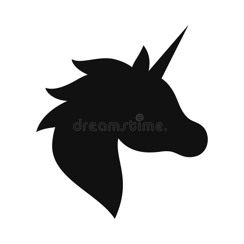 Silhouette noire de licorne Dessin d'illustration de vecteur, d'isolement illustration stock