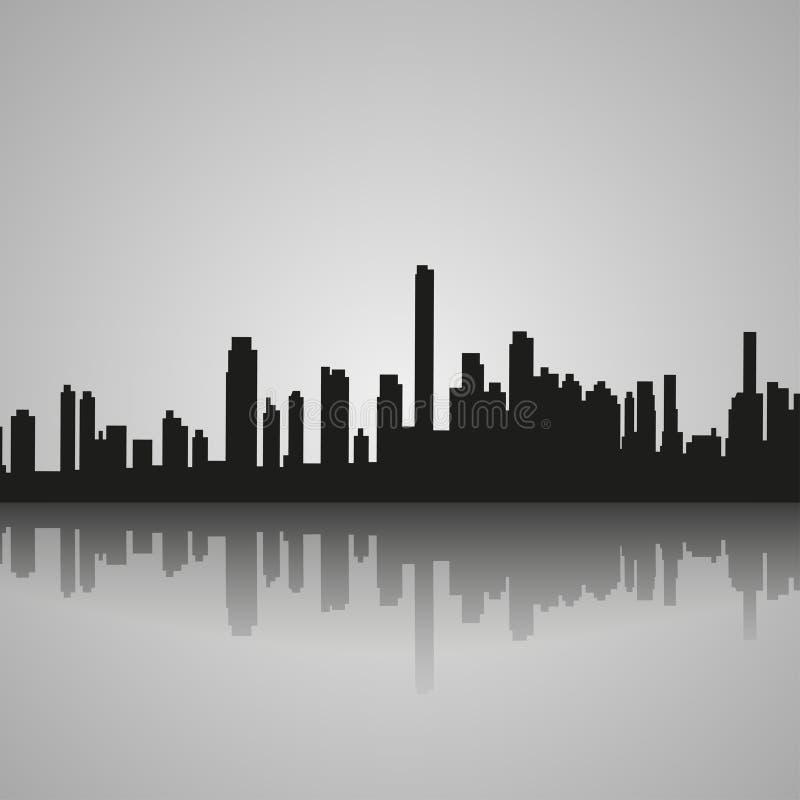 Silhouette noire de Miami avec la réflexion Illustration de vecteur illustration de vecteur