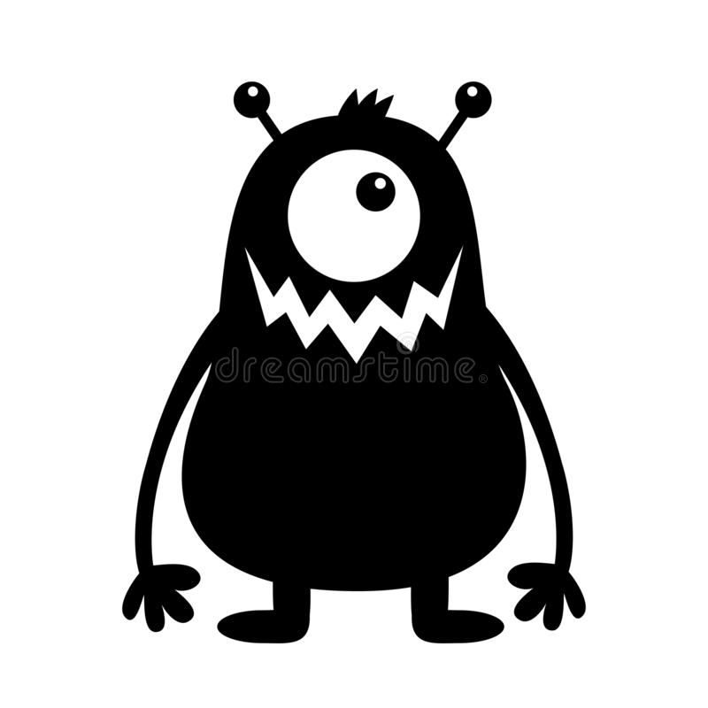 Silhouette noire de monstre Caractère drôle effrayant de kawaii mignon de bande dessinée Collection de b?b? Un oeil, dent de croc illustration de vecteur