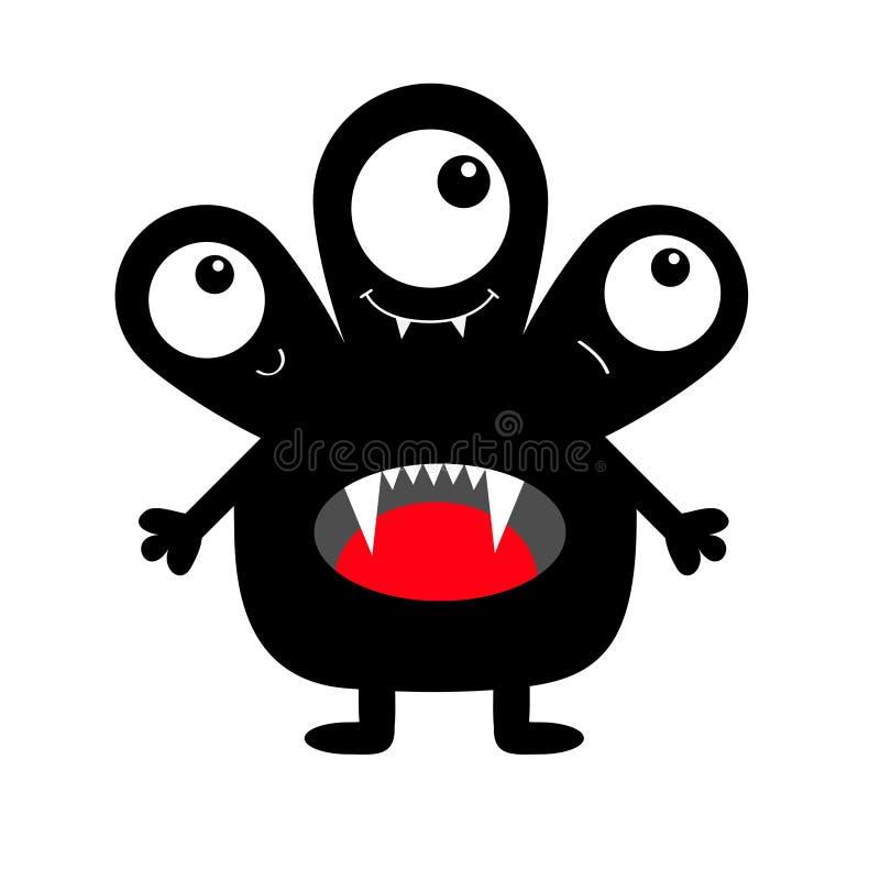 Silhouette noire de monstre Trois yeux, langue de dent de croc, mains Caractère drôle effrayant de kawaii mignon de bande dessiné illustration libre de droits