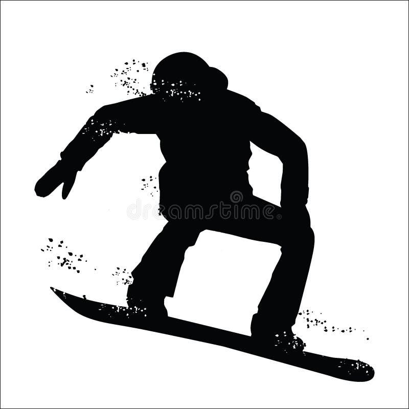 Silhouette noire de surfeur d'isolement sur le fond blanc illustration de vecteur