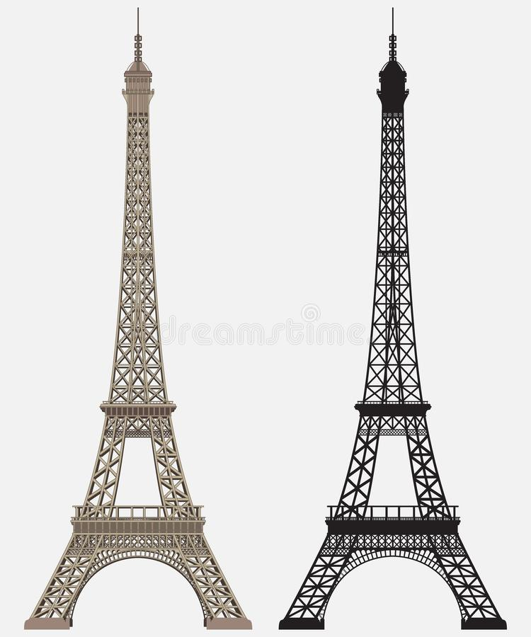 Silhouette noire de Tour Eiffel illustration libre de droits