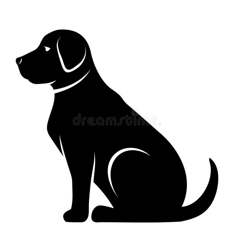 Silhouette noire de vecteur d'un chien illustration stock