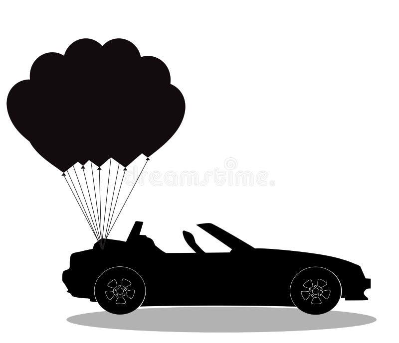 Silhouette noire de voiture ouverte de cabriolet avec des ballons sur le blanc illustration de vecteur