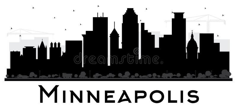 Silhouette noire et blanche d'horizon de Minneapolis Minnesota Etats-Unis illustration libre de droits