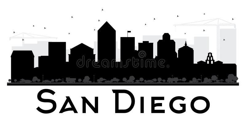 Silhouette noire et blanche d'horizon de San Diego City illustration de vecteur