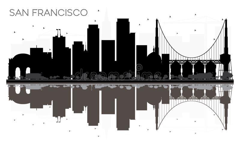 Silhouette noire et blanche d'horizon de San Francisco City avec le refle illustration libre de droits