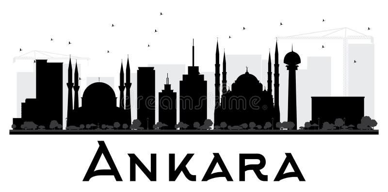 Silhouette noire et blanche d'horizon de ville d'Ankara illustration stock