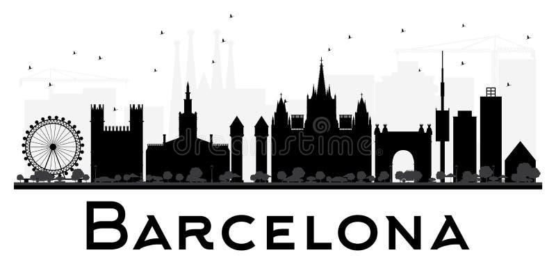 Silhouette noire et blanche d'horizon de ville de Barcelone illustration libre de droits