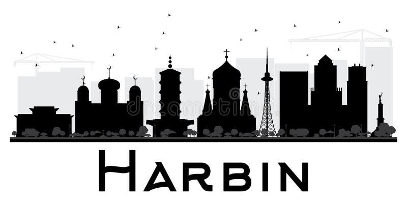 Silhouette noire et blanche d'horizon de ville de Harbin illustration libre de droits