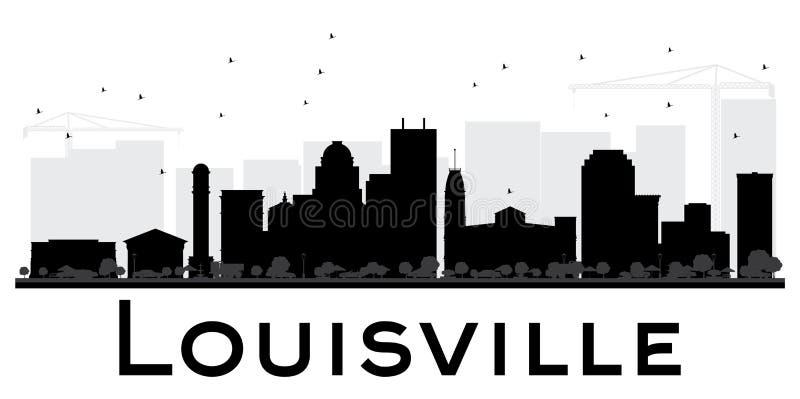 Silhouette noire et blanche d'horizon de ville de Louisville illustration de vecteur