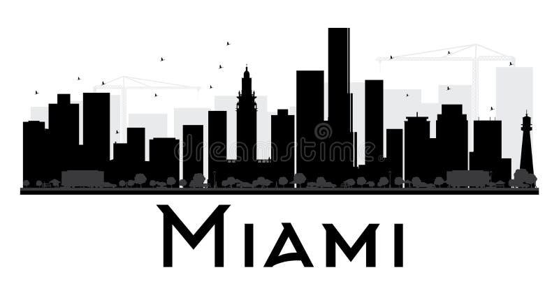 Silhouette noire et blanche d'horizon de ville de Miami illustration libre de droits