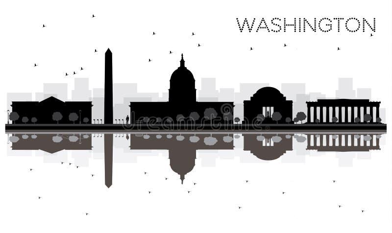 Silhouette noire et blanche d'horizon de ville de Washington DC avec Refle illustration stock