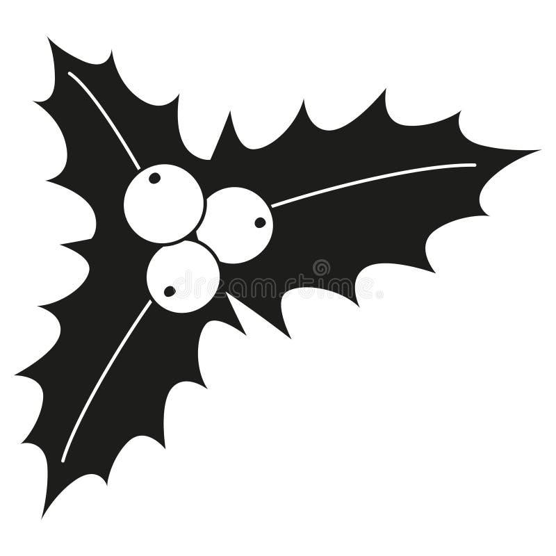 Silhouette noire et blanche de baies de houx illustration libre de droits