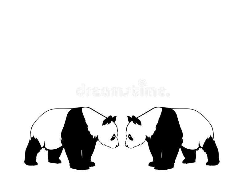 Silhouette noire et blanche de deux pandas illustration stock