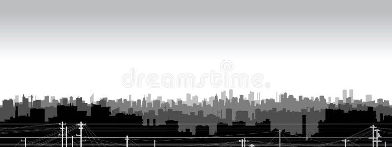 Silhouette noire et blanche de ville illustration libre de droits