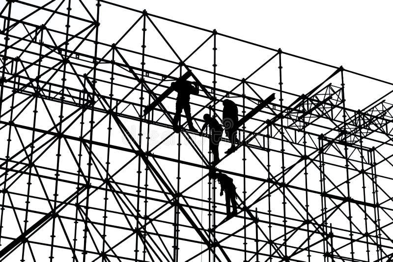 Silhouette noire et blanche des travailleurs de la construction photographie stock