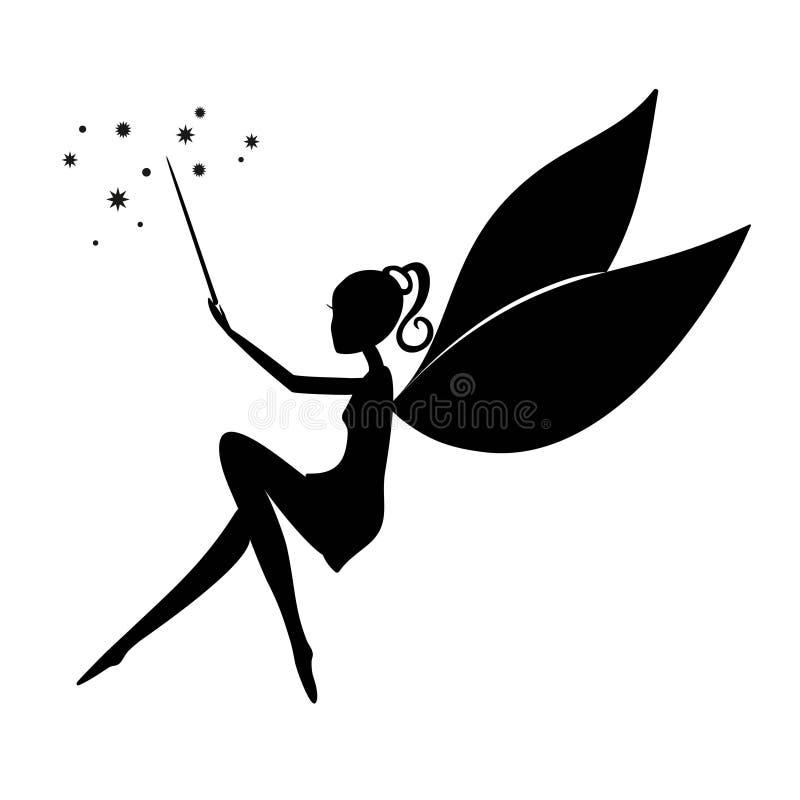 Silhouette noire féerique avec une baguette magique magique illustration libre de droits