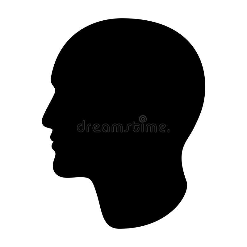 Silhouette noire graphique de tête masculine Profil abstrait illustration libre de droits