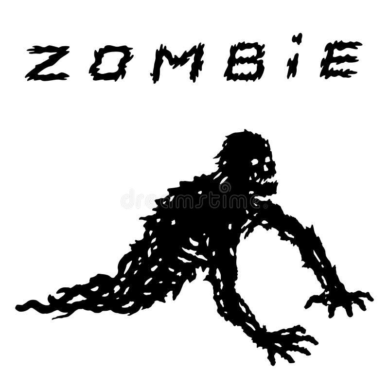 Silhouette noire manchot de zombi dans des vêtements perméables Illustration de vecteur illustration stock