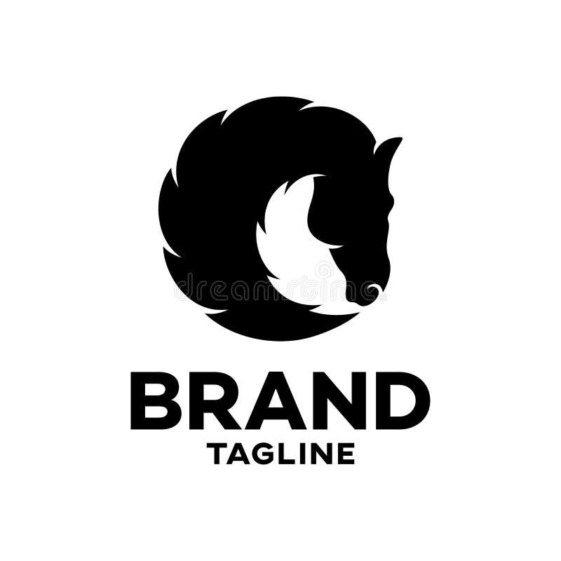 Silhouette noire moderne d'un logo principal de cheval illustration stock