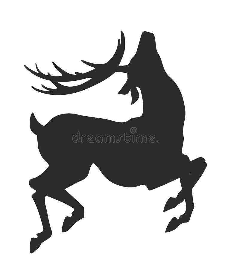 Silhouette noire simple des cerfs communs sautants sur le fond blanc illustration libre de droits