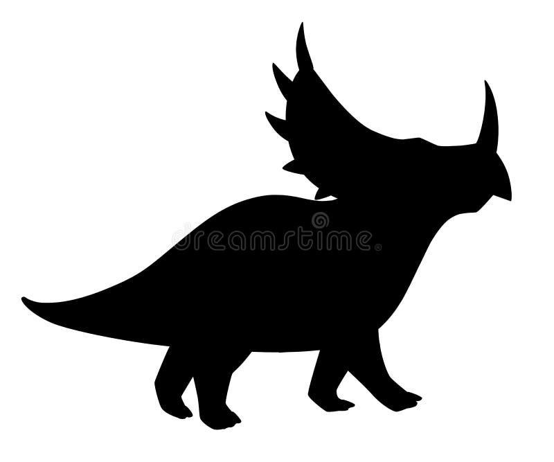 Silhouette noire Triceratops de Brown r Illustration plate d'isolement sur le fond blanc Animal illustration libre de droits