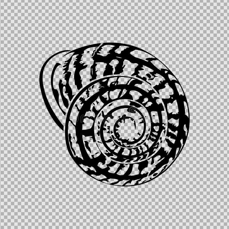Silhouette noire une coquille d'escargot d'hélice illustration stock