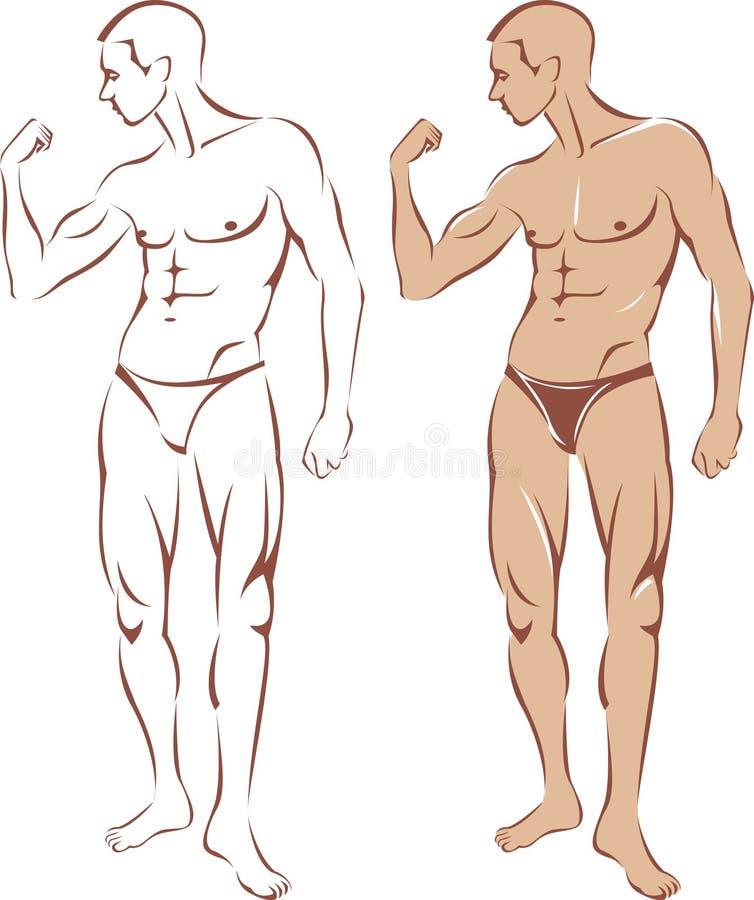 Silhouette nue d'homme illustration libre de droits