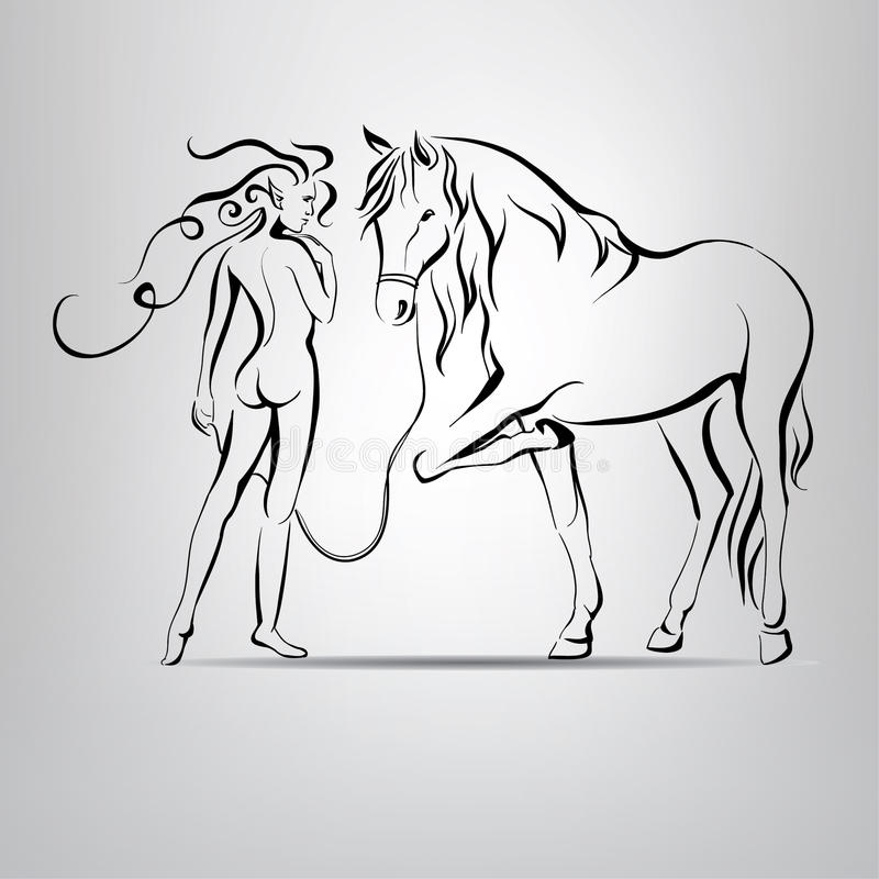 Silhouette nue de fille marchant avec un cheval. illustratio de vecteur illustration libre de droits