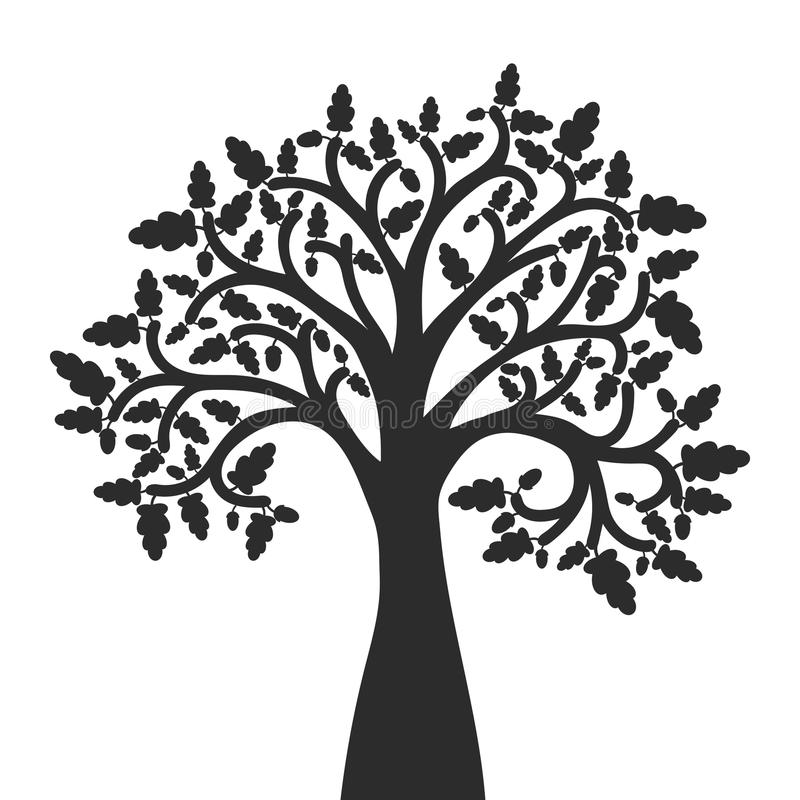 Silhouette of oak tree with leaves stock illustration