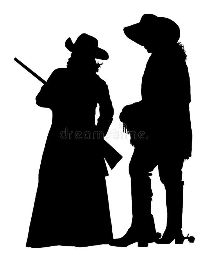 Silhouette occidentale sauvage image stock