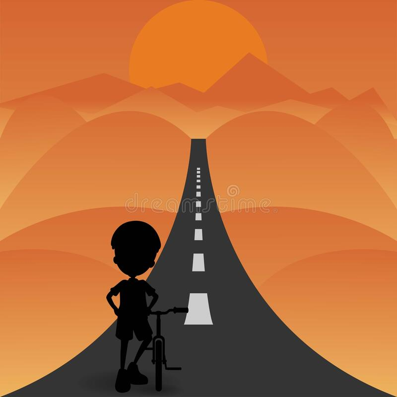 Free Silhouette Of A Boy With Bicycle On A Road Ready For Riding Stock Image - 174977741