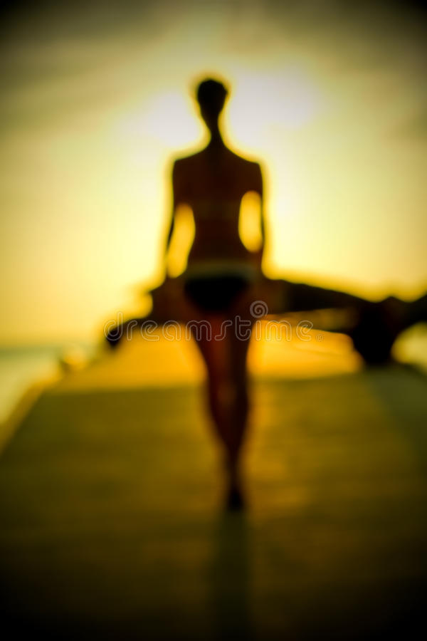 Free Silhouette Of A Girl Walking Along The Pier At Sunset Royalty Free Stock Photos - 40365598