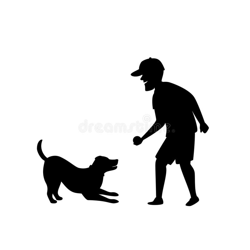 Free Silhouette Of A Man Playing Fetching Ball Game With Dog Stock Image - 123552281