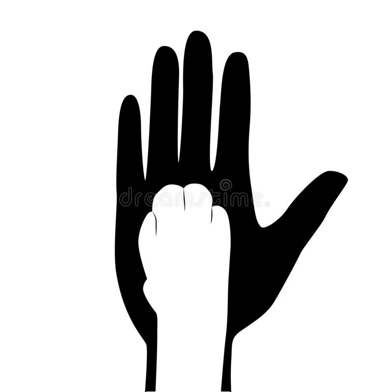 Free Silhouette Of A Man`s Hand And Cat Paw. Paw Of A Pet Lies On A Man S Hand. Friendship With Pets, Caring For Them. Vector Stock Images - 183727904