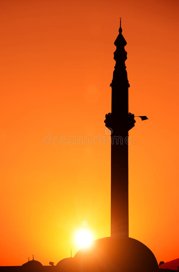 Free Silhouette Of A Mosque At Sunrise, Skopje, Macedonia Stock Photo - 32449880