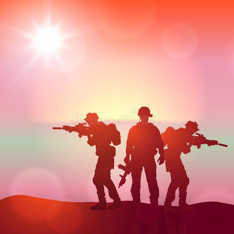 Free Silhouette Of A Soldiers Against The Sunrise. Concept - Protection, Patriotism, Honor. Royalty Free Stock Photography - 217051597