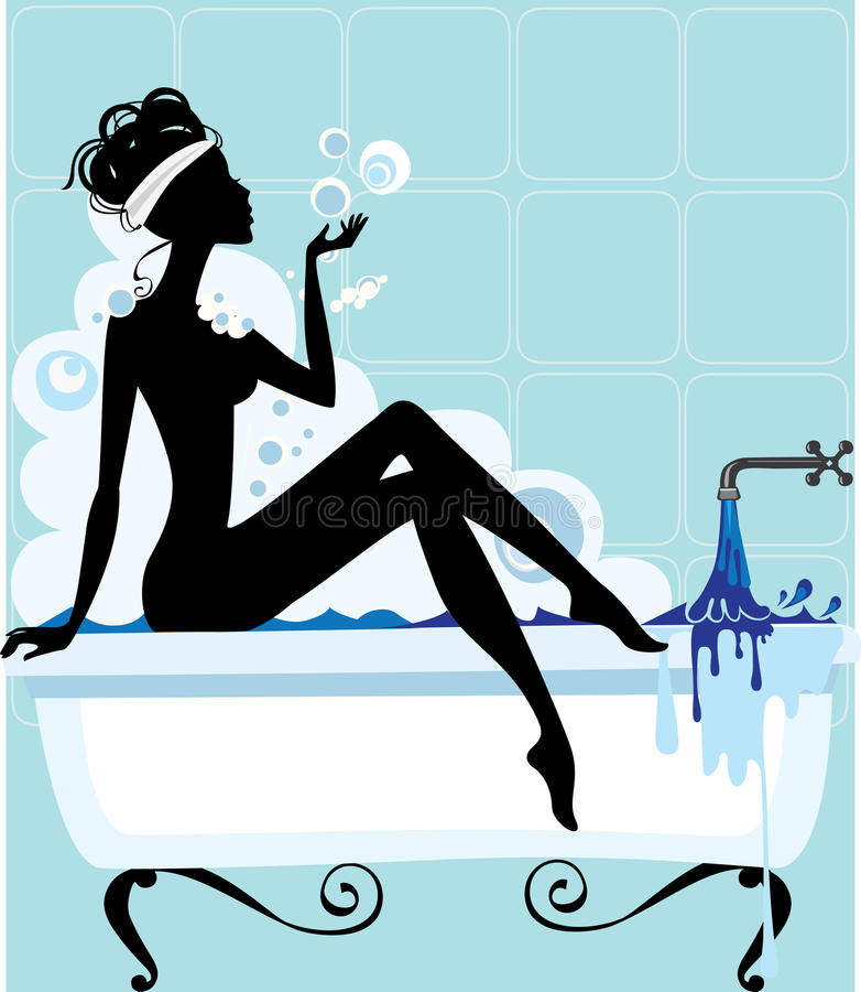 Free Silhouette Of A Woman In A Bathtub Royalty Free Stock Photography - 28759207