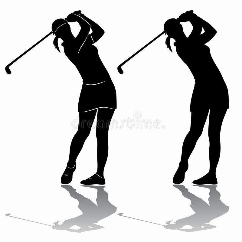 Free Silhouette Of A Woman Playing Golf, Vector Draw Stock Photos - 109399973