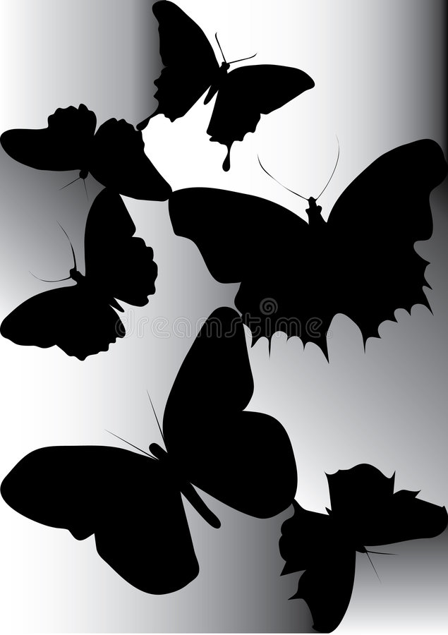 Free Silhouette Of Beautiful Butterfly Royalty Free Stock Photos - 7571898