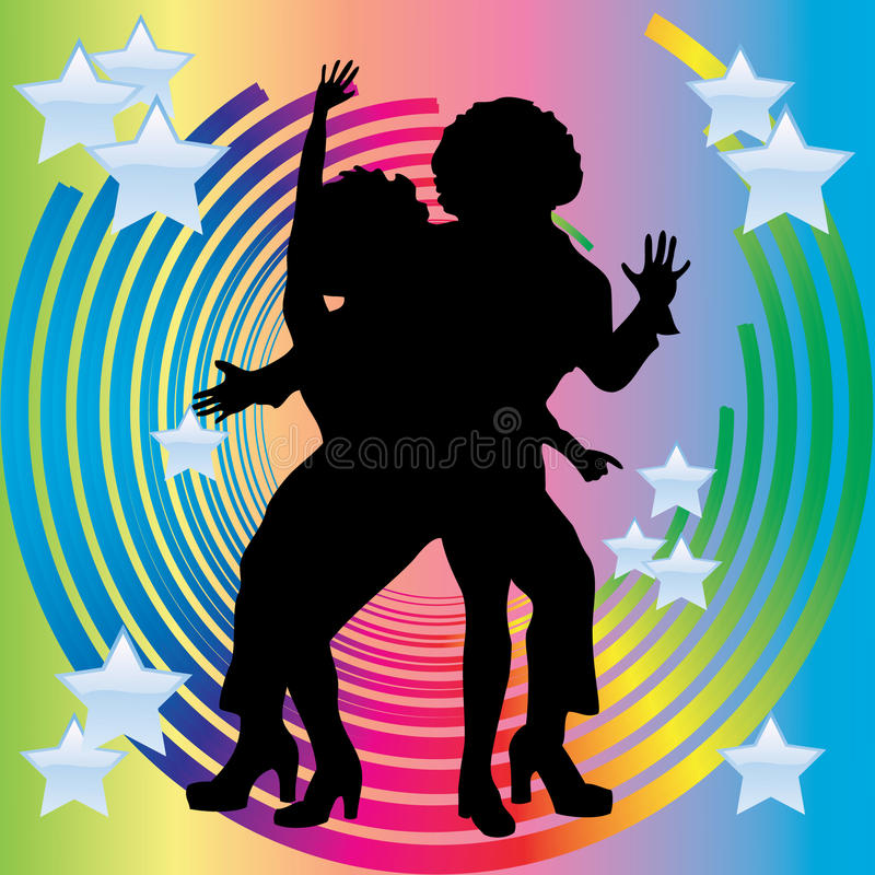 Free Silhouette Of Couples Dancing Disco. Royalty Free Stock Photos - 17266388