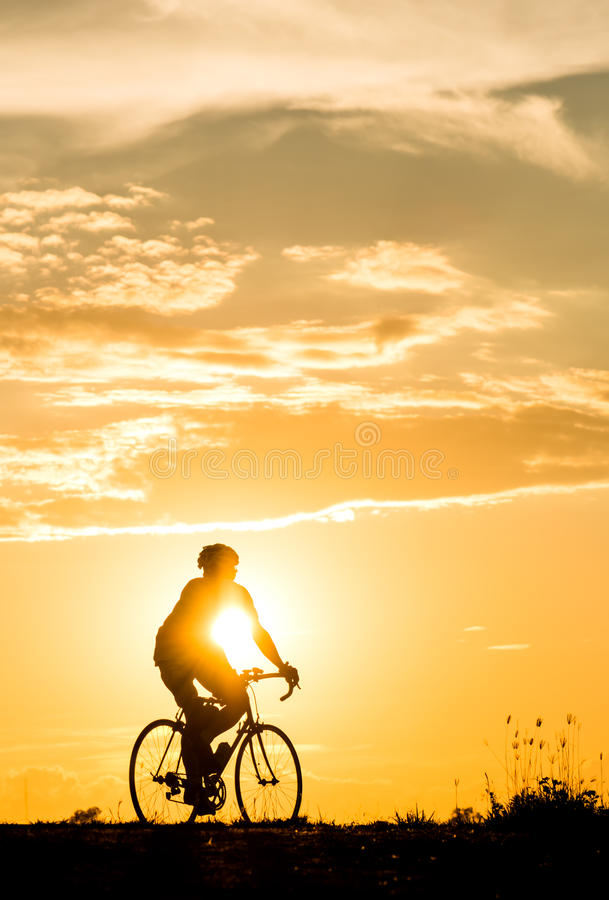 Free Silhouette Of Cyclist Motion On Sunset Background Stock Photography - 80388262