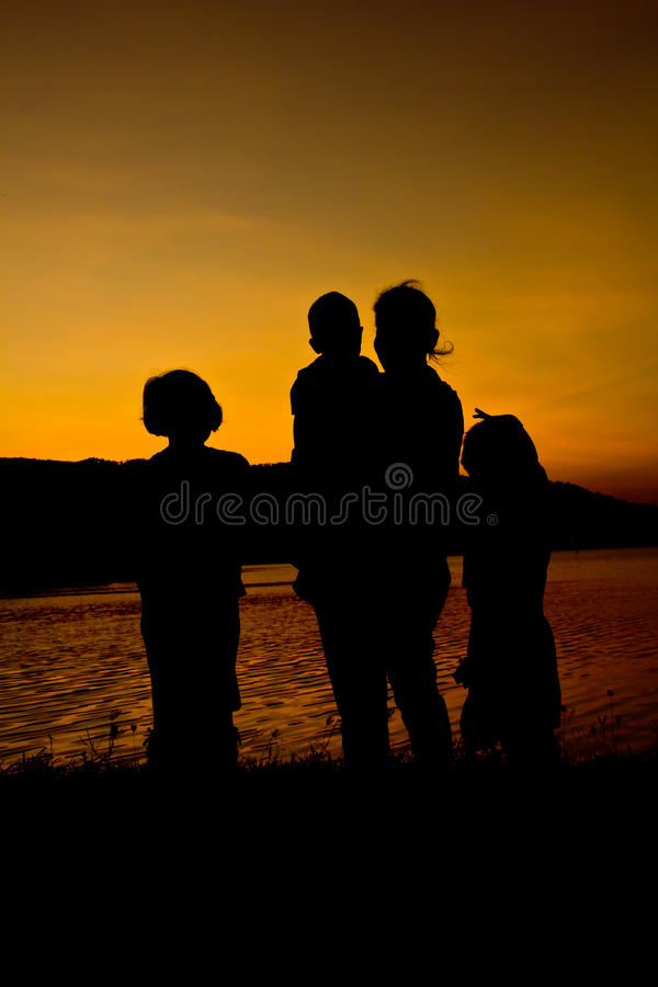 Free Silhouette Of Family Stock Image - 24458791