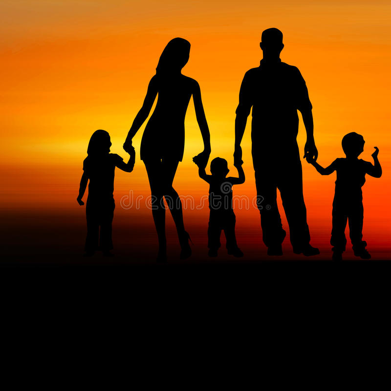 Free Silhouette Of Happy Family Royalty Free Stock Image - 53614746