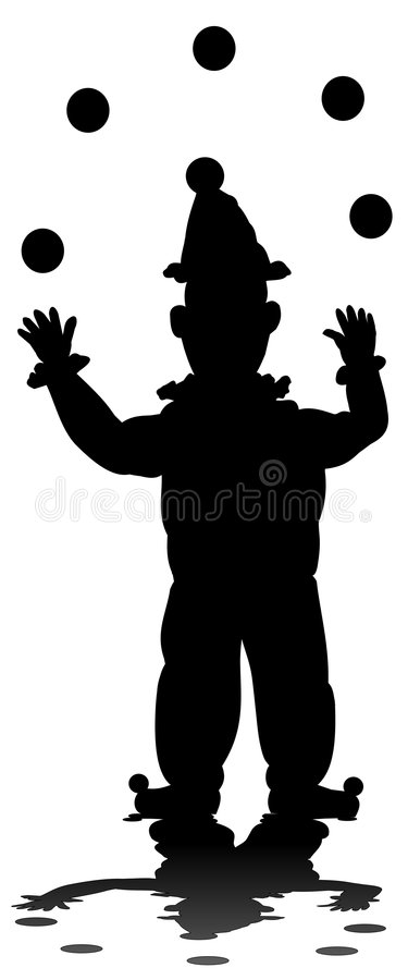 Free Silhouette Of Juggling Clown Stock Photos - 6760043