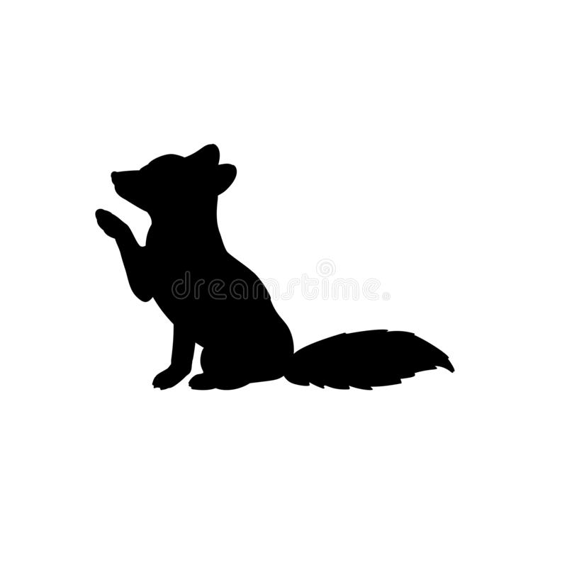 Free Silhouette Of Little Fox. Cute Young Animal Royalty Free Stock Images - 164374559