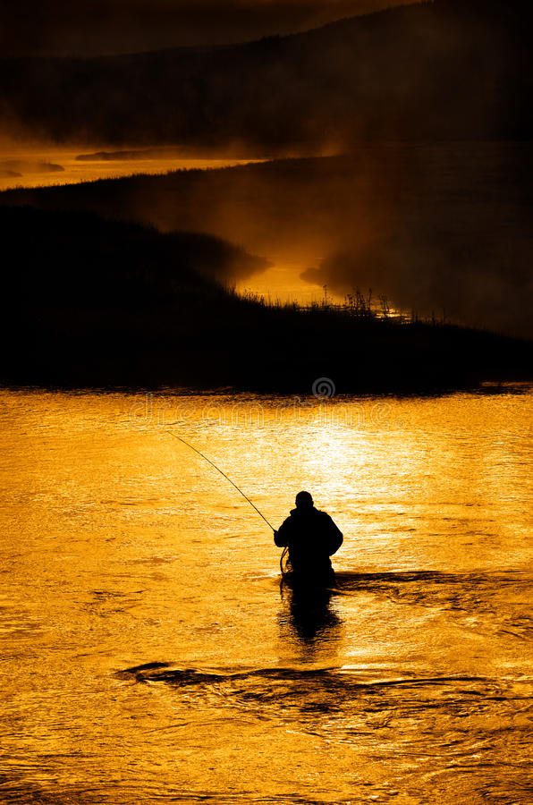 Free Silhouette Of Man Flyfishing In River Royalty Free Stock Image - 88050026