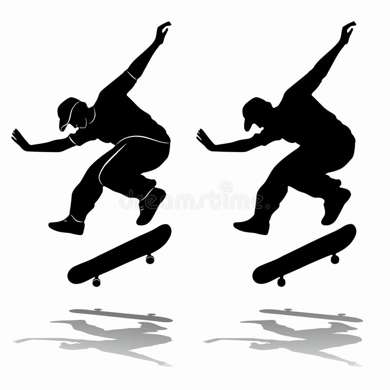 Free Silhouette Of Skateboarder, Vector Draw Stock Image - 84715051