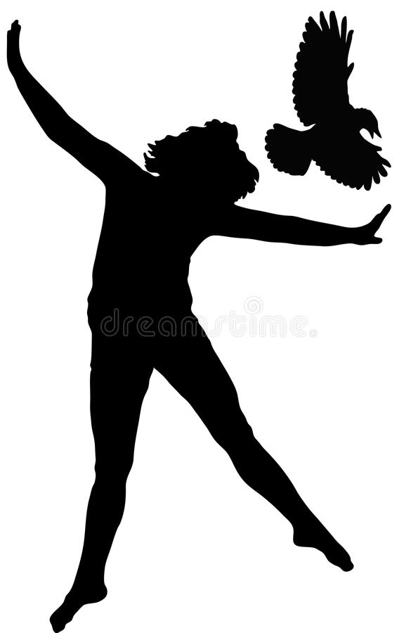 Free Silhouette Of The Girl And Bird Royalty Free Stock Photography - 10693517